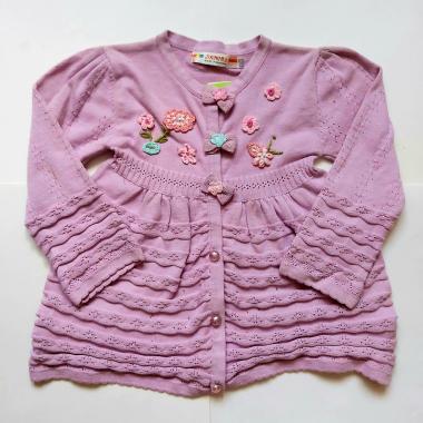 Кофта для девочки с цветами (сиреневая), 3-7 лет