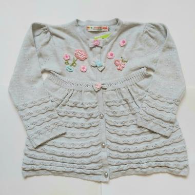 Кофта для девочки с цветами (серый), 3-7 лет