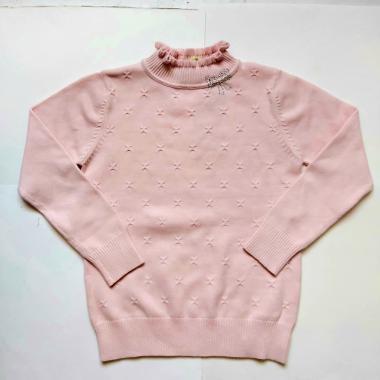 Свитер для девочки с рисунком из страз (розовый), 6-10 лет