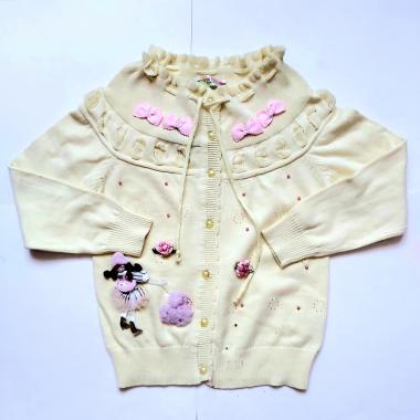 Кофта для девочки с куклой (желтый), 3-7 лет