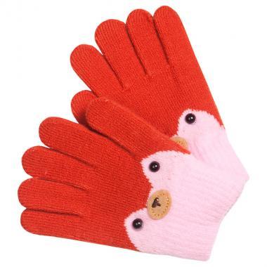 Перчатки разноцветные для девочки КОРОНА (терракот), 4-6 лет