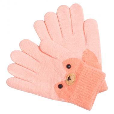 Перчатки разноцветные для девочки КОРОНА (персик), 4-6 лет