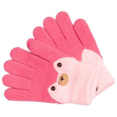 Перчатки разноцветные для девочки КОРОНА (розовый), 4-6 лет