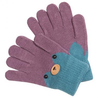 Перчатки разноцветные для девочки КОРОНА (черника), 4-6 лет
