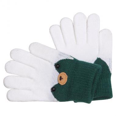 Перчатки разноцветные для девочки КОРОНА (белый), 4-6 лет