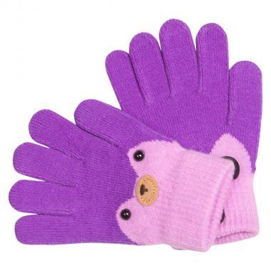 Перчатки разноцветные для девочки КОРОНА (сирень), 4-6 лет