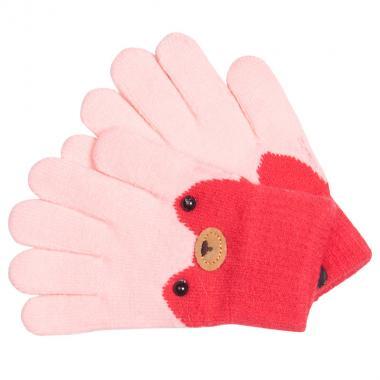 Перчатки разноцветные для девочки КОРОНА (светло-розовый), 4-6 лет