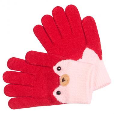 Перчатки разноцветные для девочки КОРОНА (бордо), 4-6 лет