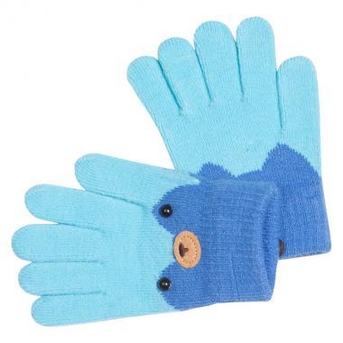 Перчатки разноцветные для девочки КОРОНА (голубой), 4-6 лет