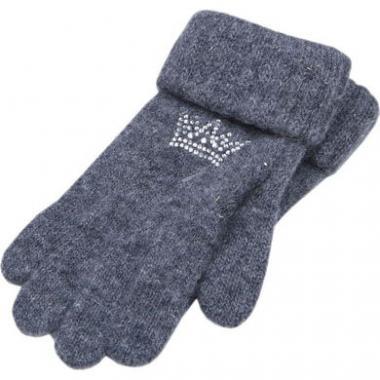 """Зимние перчатки ACCESSORIES для девочки """"Корона"""" (графит), 8-16 лет"""