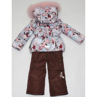 Купить Зимний комплект Kiko для девочки (серый/кофе), 9 мес. - 3 года