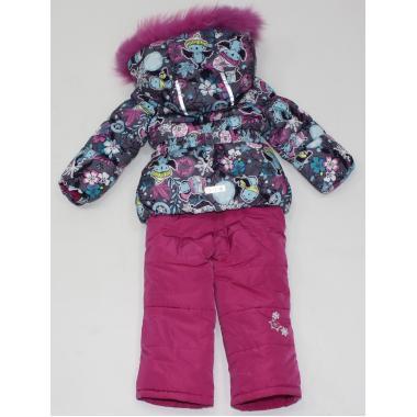 Купить Зимний комплект Kiko для девочки (т.серый/малина), 9 мес. - 3 года