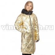 Зимнее пальто KIKO для девочки ВЕРА (золото/черный), 10-15 лет