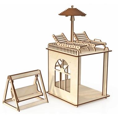 """Конструктор ХэппиДом """"Пристройка с мебелью и качелями Premium"""""""