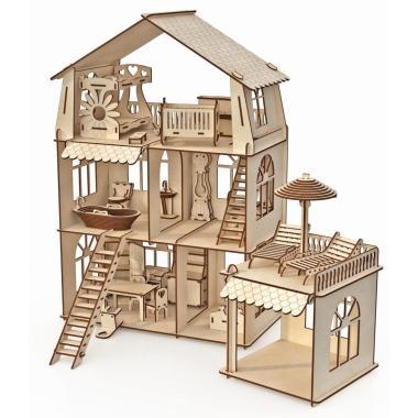 """Конструктор-кукольный домик ХэппиДом """"Коттедж с пристройкой и мебелью Premium"""""""