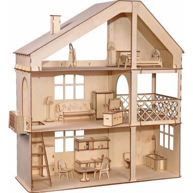 """Кукольный дом ХэппиДом """"Гранд коттедж с верандой и мебелью"""" из дерева"""