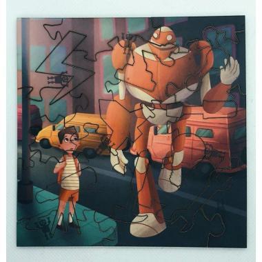 """Деревянный пазл-головоломка Mr.Puzz """"Тим и робот Айбо"""""""