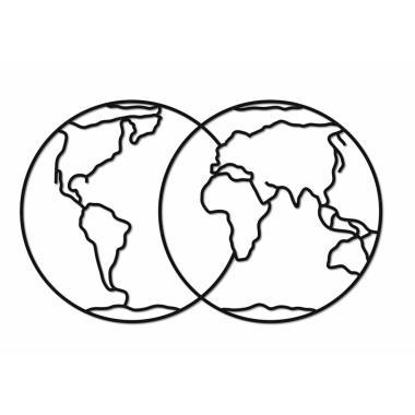 Деревянный интерьерный пазл EWA Design Полушария Земли
