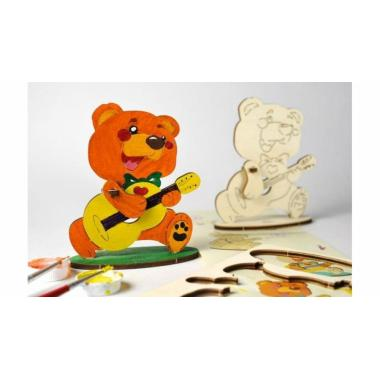 Раскраска 3D из дерева UGears 4kids - Медвежонок