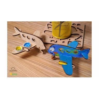 Раскраска 3D из дерева UGears 4kids - Аэроплан