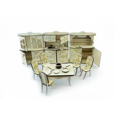 Конструктор 3D деревянный подвижный Lemmo Набор мебели кухня