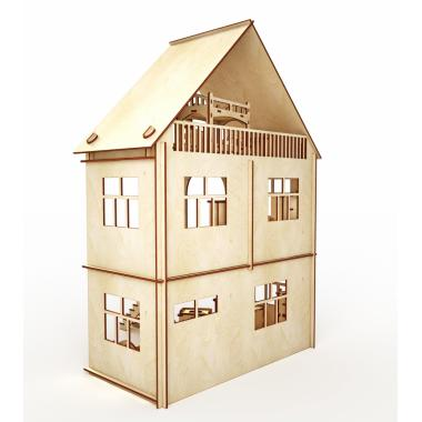 """Конструктор-кукольный домик ХэппиДом """"Коттедж с мебелью"""" из дерева"""