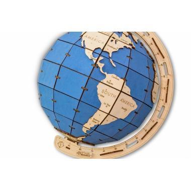 Конструктор деревянный 3D EWA Глобус голубой