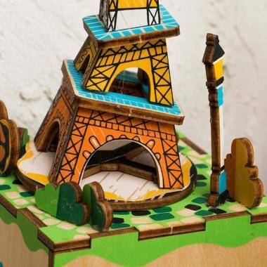 """Деревянный 3D конструктор - музыкальная шкатулка Robotime """"Эйфелева башня"""""""