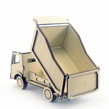 Конструктор 3D деревянный подвижный Lemmo Грузовик Самосвал