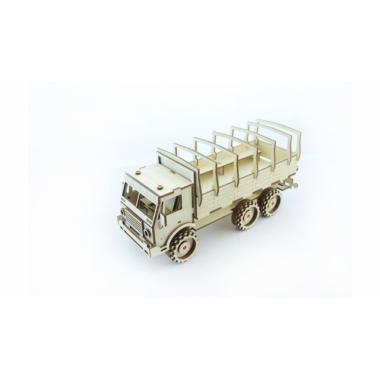 Конструктор 3D деревянный подвижный Lemmo Военный Грузовик