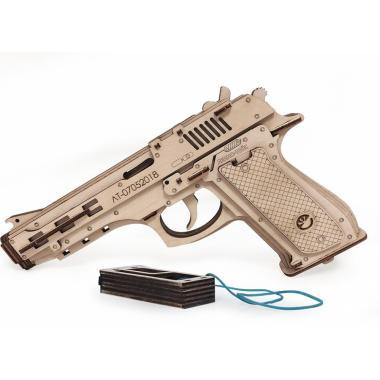 Конструктор 3D деревянный Lemmo Пистолет-резинкострел с мишенями
