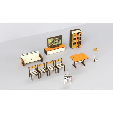 """Кукольная мебель деревянная M-WOOD """"Гостиная"""" 11 предметов"""