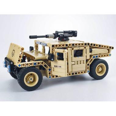 Конструктор QIHUI с мотором и радиоуправлением Военный внедорожник
