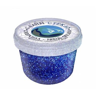 """Слайм """"Стекло"""" с ярко-синими блестками, 100 гр"""