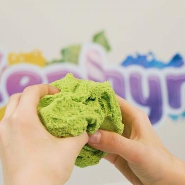 Кинетический пластилин Zephyr Набор 3 цвета по 75 гр (зеленый, сиреневый, оранжевый)