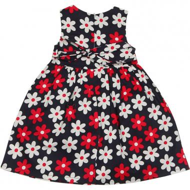 Нарядное платье Smile Rabbit для девочки с цветами (синее), 2-6 лет