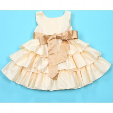 """Нарядное платье для девочки """"Полин"""" (бежевое), 0,5-3 года"""