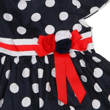 Нарядное платье для девочки Горошек (белый/синий), 5-10 лет
