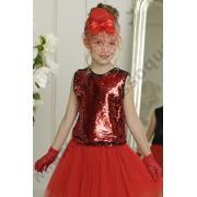 Нарядная блузка ФЛЕР (красный/серебро), 6-12 лет