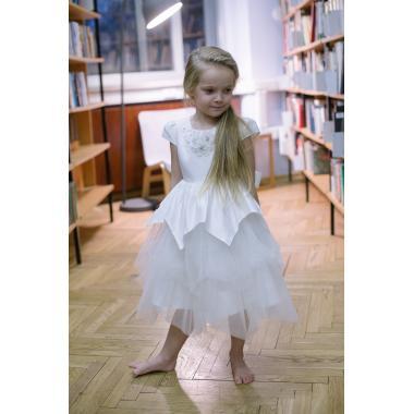 Нарядное платье для девочки IQ-FORM (жемчужно-белый), 3-8 лет