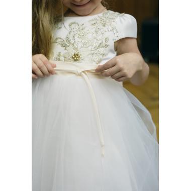 Нарядное платье для девочки IQ-FORM (белое золото), 3-8 лет