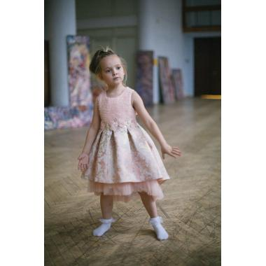 Нарядное платье для девочки IQ-FORM (пудра-розовое), 3-8 лет