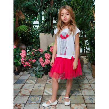 Платье для девочки JUNO (белый/малиновый), 3-12 лет