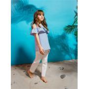 Блузка для девочки JUNO (синий/белый), 3-12 лет