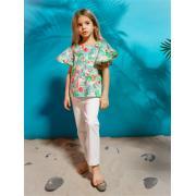 Блузка для девочки JUNO (тропики), 3-12 лет