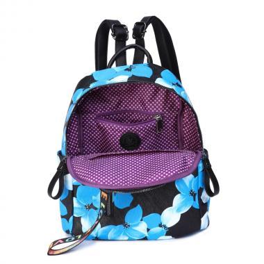Женский рюкзак из экокожи Ors Oro (синие цветы на черном)