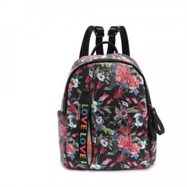Женский рюкзак из экокожи Ors Oro (большие цветы на черном)
