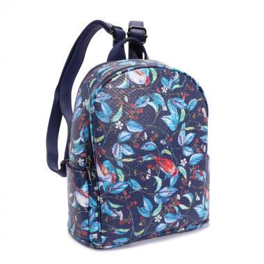 Женский рюкзак из экокожи Ors Oro (птички на синем)