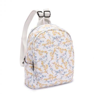 Женский рюкзак из экокожи Ors Oro (мелкие цветы на белом)