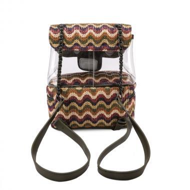 Женский рюкзак из экокожи Ors Oro (хаки полосатый)